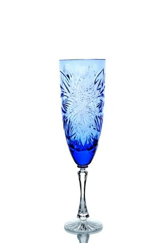 A set of crystal glasses for water cornflower blue 6 pieces