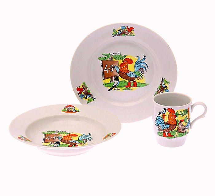 Dulevo porcelain / A set of dishes 3 ave. School of I.U. (t. 200 mm chalk, t. Depth 200 mm, mug 210 ml Russian Field)