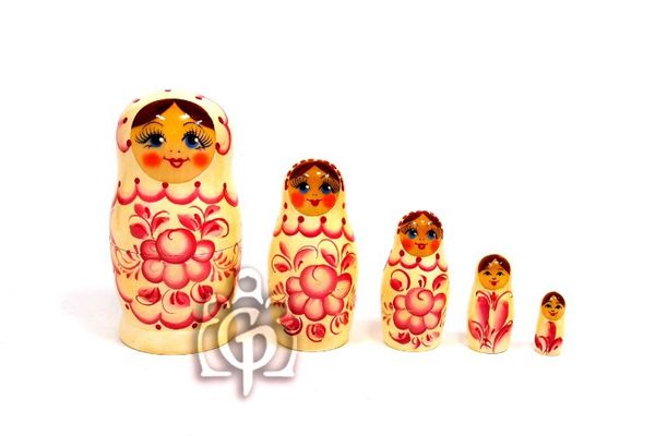 Rossiyanochka matryoshka performs booklet, 5 dolls - Gzhel