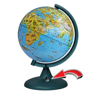 Zoogeographical globe with a diameter of 210 mm with backlight battery powered (batteries not included)