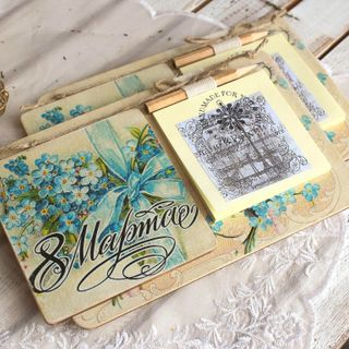 Handmade gift - a large fridge magnet on March 8 with a block for notes
