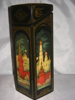 "Palekh lacquer miniature. Case under the bottle ""Moscow"""