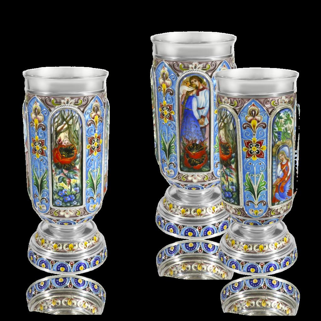 "Rostov enamel / Glass ""Scarlet Flower"""