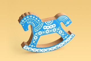 Konik-rocking-chair blue with an ornament