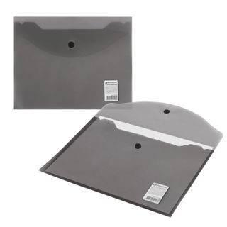 Folder-envelope with button SMALL FORMAT (240х190 mm), A5 tinted black, 0.18 mm, BRAUBERG