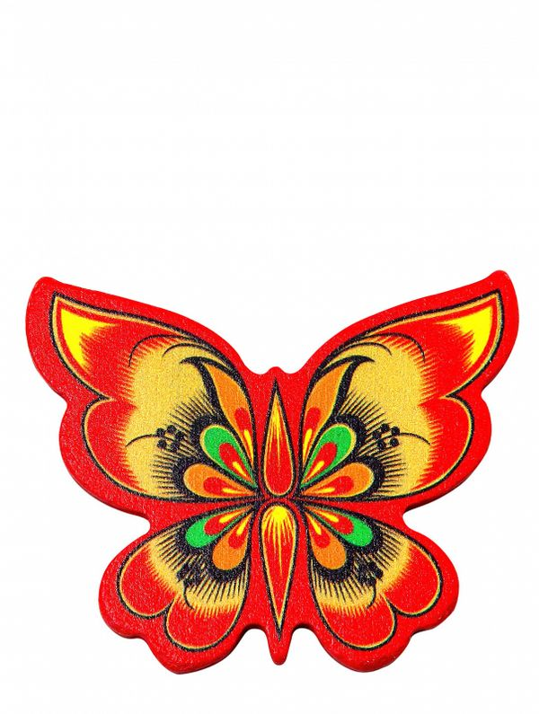 Magnet wooden Butterfly red