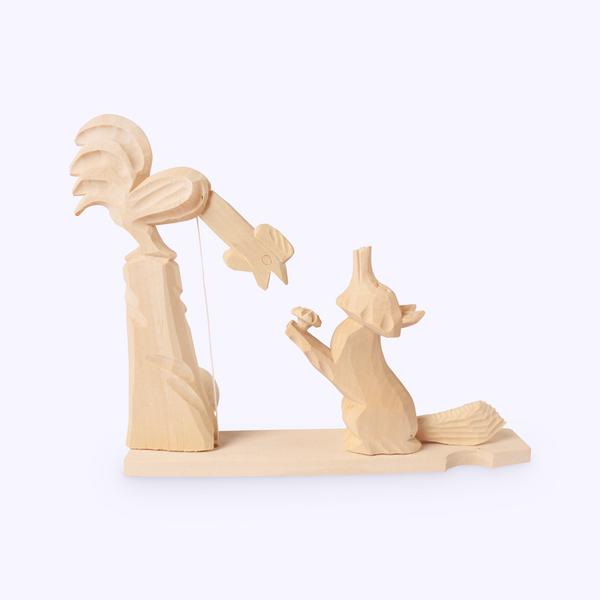 Bogorodskaya toy / Wooden souvenir 'Fox and rooster'