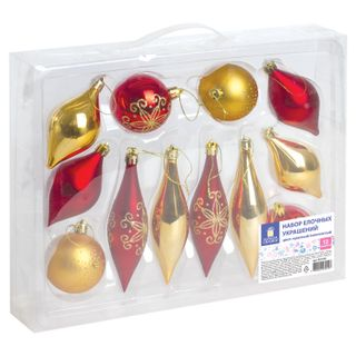 Golden fairy tale / A set of decorations for spruce plastic, 12 items, case, color red / gold