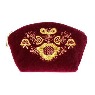 """Velvet cosmetic bag """"jingle Bells"""" Burgundy with gold embroidery"""