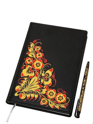Khokhloma painting / Set: notebook, souvenir pen