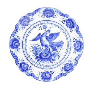 Dish of the Anniversary of the author's work, Gzhel Porcelain factory