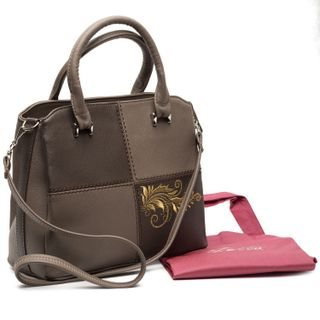 """Bag made of eco-leather """"Kleoma"""" brown with gold embroidery"""