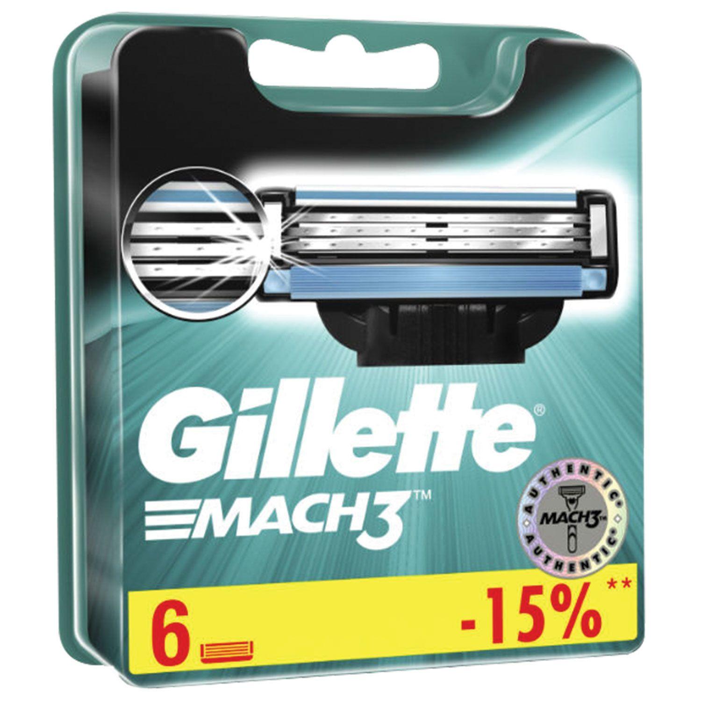 Replacement shaving cassettes 6 pcs. GILLETTE Mach3, for men