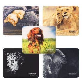"""SONNEN / Mouse pad """"ANIMALS"""", rubber + fabric, 220x180x3 mm, 5 types"""