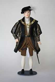 Doll gift. Men's court dress. England. Mid-16th century.