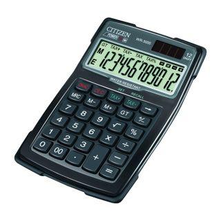 CITIZEN WR-3000 Desktop Calculator, Water Resistant, COMPACT (152x106 mm), 12 Digits, Dual Power