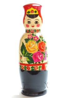 "Souvenir case ""Russian well done"" - a damask for a 0.5-liter bottle"