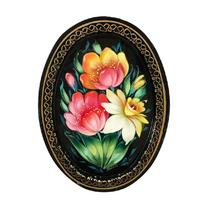 Zhostovo tray oval black author Khnykova Irina 17x12