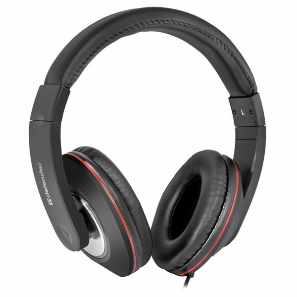 DEFENDER / Headphones with microphone (headset) Accord 171, wired, 1.2 m, oversized with headband, black