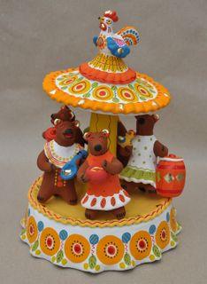 Dymkovskaya earthenware toy Bears on the carousel