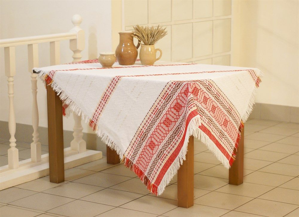 "Tablecloth ""Bright day"" with red embroidery, 180x134"
