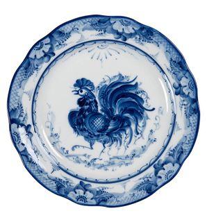 """Plate soup oak """"Cock"""" diameter 240 mm, Gzhel Porcelain factory"""