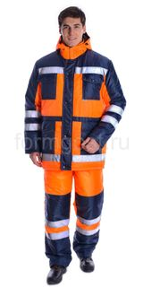 Suit Dorozhnik insulated, orange fluorescenti + blue