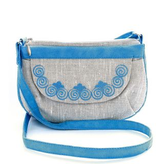 """Linen bag """"Muse"""" blue with silk embroidery"""