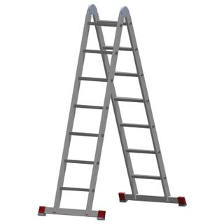 Aluminum transforming ladder 2x7 steps, height 4.0 m (2 sections 1.95 m each), load 150 kg