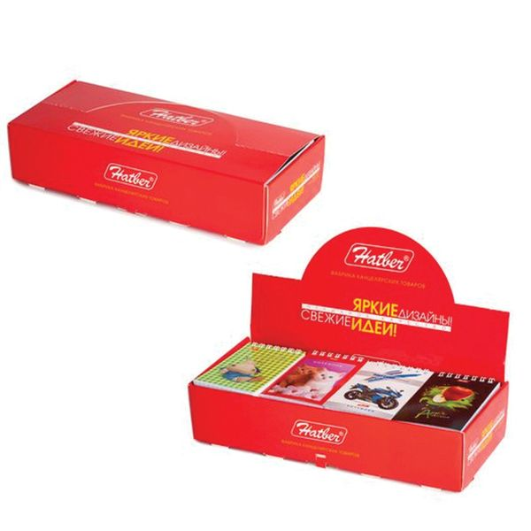 HATBER / Assorted Notebook SMALL FORMAT 40 sheets A7, 65x100 mm, comb, cardboard, cage, display