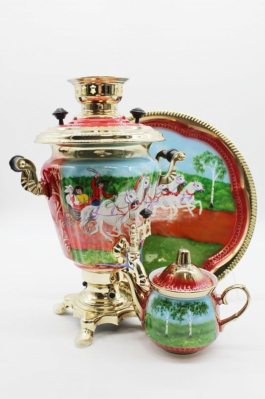 """Dulevo porcelain / Electric samovar 3 l. """"Troika Leto"""" in a set with auto off."""