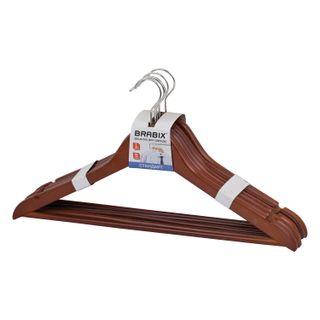 BRABIX / Standard coat hangers, size 48-50, SET 5 pcs., Wood, crossbar, cherry color