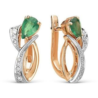 EARRINGS, EMERALD, COMBINED GOLD