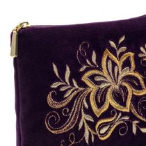 Velvet purse 'Tenderness' purple with gold embroidery