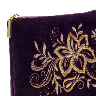 "Velvet purse ""Tenderness"" purple with gold embroidery"