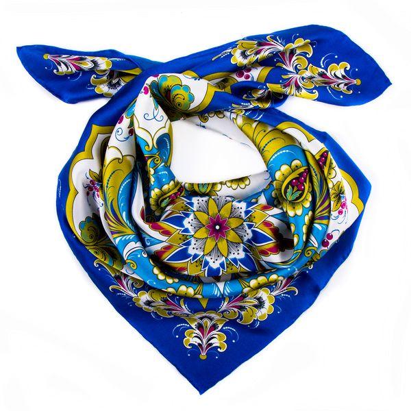 Silk scarf Khokhloma painting, blue background