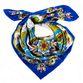 Silk scarf Khokhloma painting, blue background - view 1