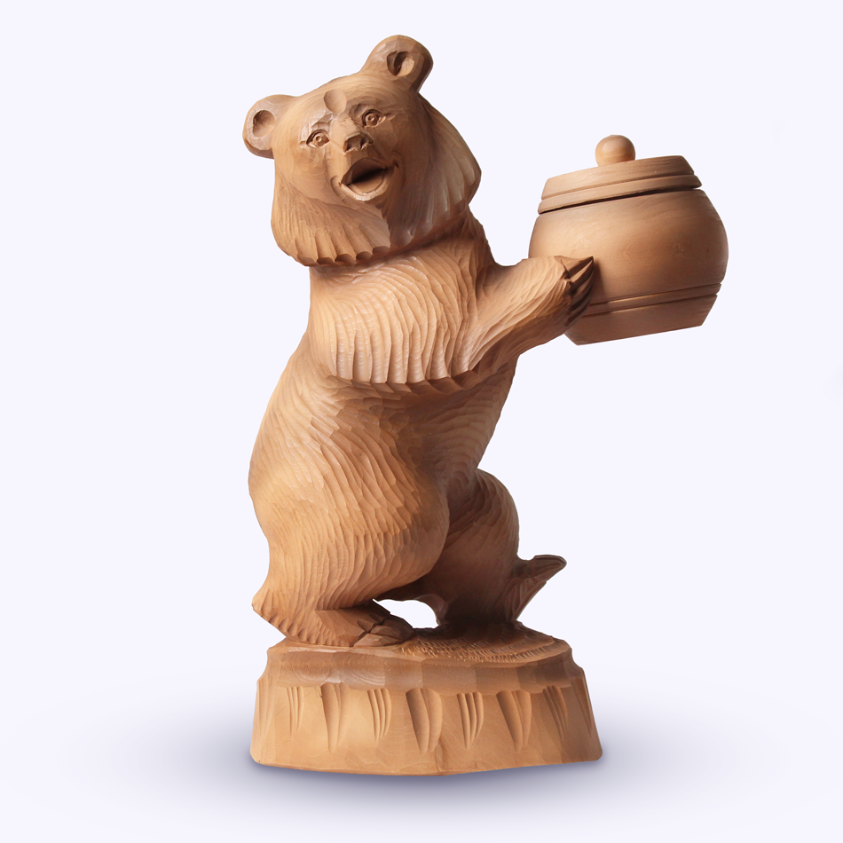 "Bogorodskaya toy / Wooden souvenir ""Bear for honey"""