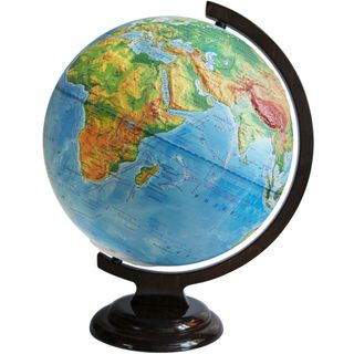 Physical relief globe with a diameter of 320 mm on wooden stand