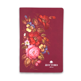 Zhostovo / Diary with hand-painted author's painting, burgundy