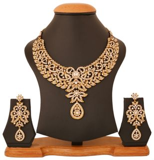 Touchstone Antique Golden Plated Indian Bollywood Rhinestones Bridal Jewelry Necklace Set For Women