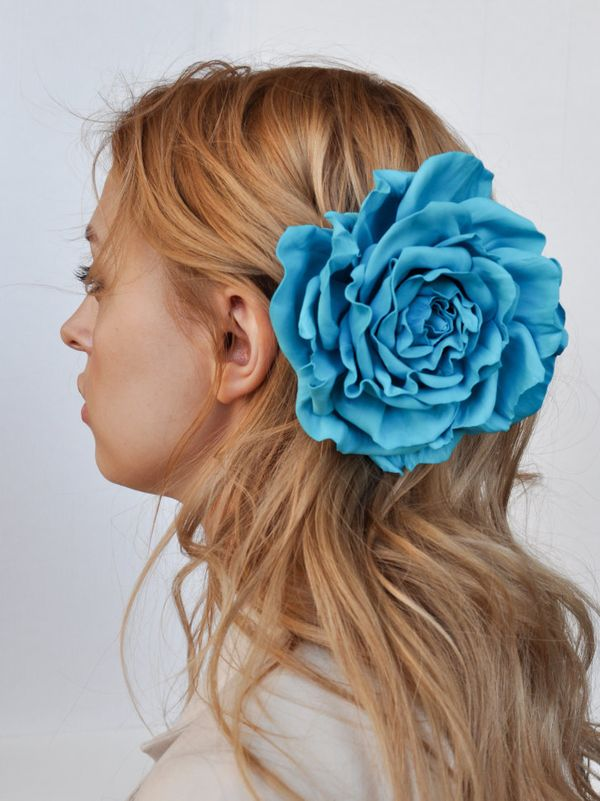 Brooch hairpin Rose turquoise