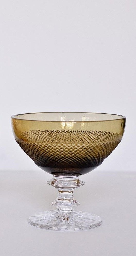 """Crystal vase for the table """"Lyubava"""" olive"""