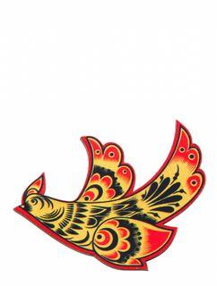 """Khokhloma painting / Wooden magnet """"Bird"""""""