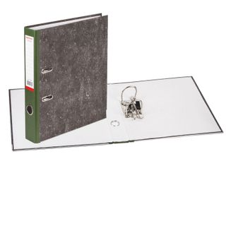 Folder-Registrar FISMA, texture standard, with marble flooring, 50 mm, green spine