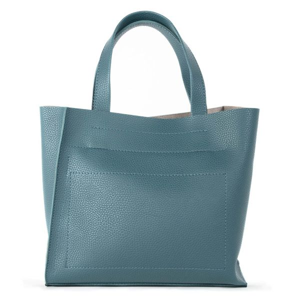 Bag in eco-leather, 'the Stranger' blue