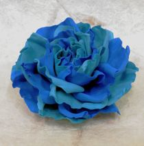 Hair clip brooch rose blue mix milotto