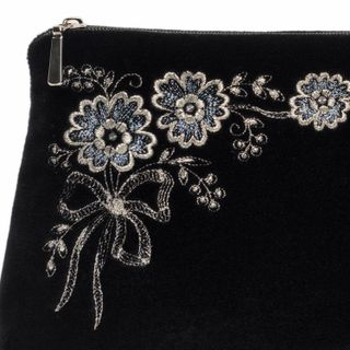 "Velvet cosmetic bag ""Daisy"" in black with silver embroidery"
