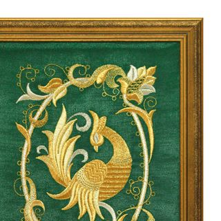"Mural ""Bird PAVA"" green with gold embroidery"