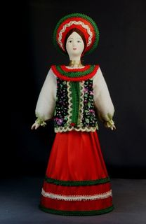 Doll gift porcelain. The North Of Russia. Maiden costume. 19th century.